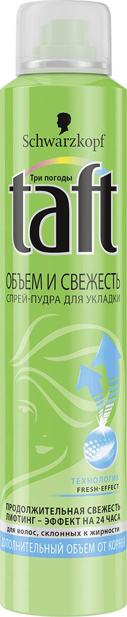 TAFT CLASSIC Спрей-пудра Volume Fresh экстрасильная фиксация, 150 мл9063168ПРОДОЛЖИТЕЛЬНАЯ СВЕЖЕСТЬ – ЭКСТРАОБЪЕМ ОТ КОРНЕЙ Формула Taft Объем и Свежесть разработана специально для волос, склонных к жирности. Она обеспечивает продолжи- тельную свежесть и лифтинг-эффект для объема на 24 часа! • Великолепный объем от самых корней. • Не оставляет следов «белой пудры» на волосах.