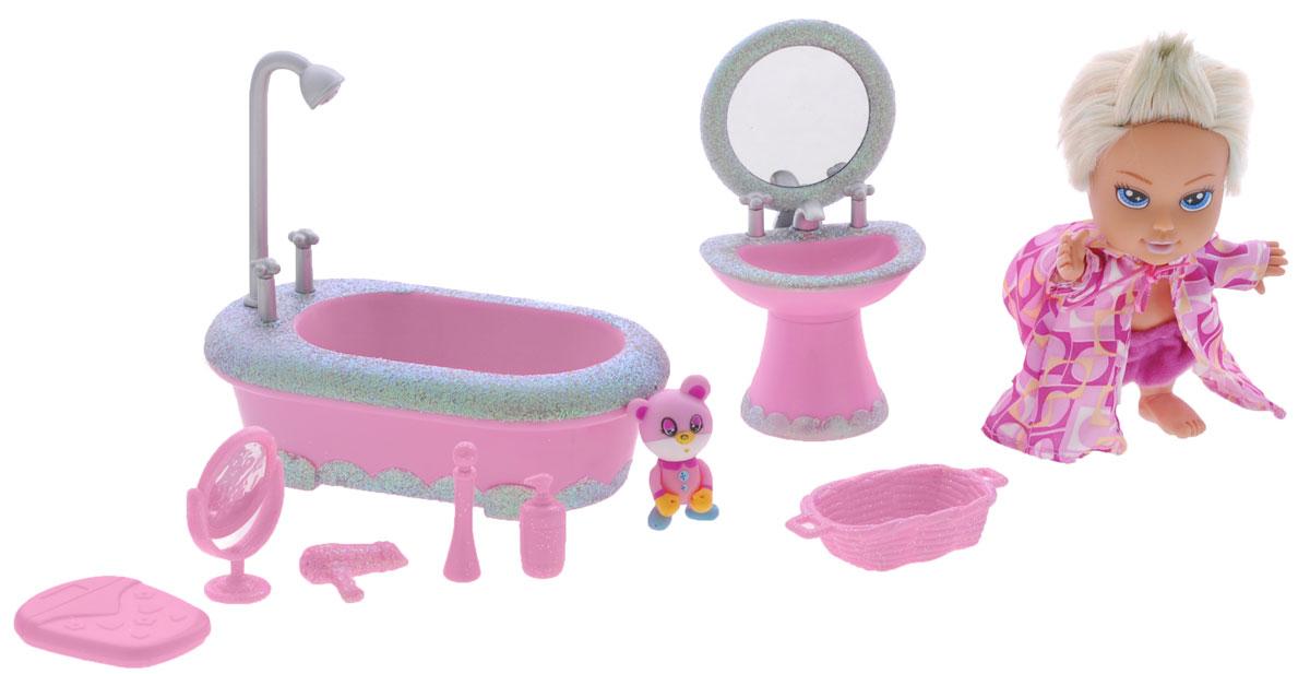 Simba Игровой набор с куклой Baby Starz5034035Стильная малышка Baby Starz готова принять ванну. Для этого у нее есть шикарные и гламурные аксессуары, украшенные блестками. На кукле яркий халатик с капюшоном на завязочках, который легко можно снять и розовые шортики. В комплекте также есть питомец куколки. Среди аксессуаров не только сама ванна с душем, но и умывальник с зеркальцем. Куклы, пожалуй, самые популярные игрушки в мире. Девочки обожают играть с ними, отправляясь в сказочную страну грез. Порадуйте свою малышку таким великолепным подарком!