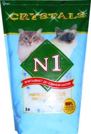 №1 Наполнитель для кошачьего туалета Crystals силикагель 3 л