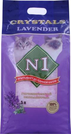 №1 Наполнитель для кошачьего туалета Лаванда силикагель 5 л48998Новый наполнитель Hi-End класса из серии «N1». Состоящий из уникальных силикагелевых кристаллов, «N1 LAVENDER» является абсолютно натуральным, безопасным для кошек и окружающей среды. Благодаря великолепным свойствам силикагеля впитывать влагу и полностью блокировать неприятные запахи, позволяют максимально заботиться о чистоте, комфорте и гигиене кошки. Гранулы тщательно отсортированы, не прилипают к шерсти. Необычная форма кристаллов препятствует рассыпанию наполнителя, что обеспечивает чистоту и порядок в доме. Благодаря добавлению сиреневых кристаллов, наполнитель дополнительно обработан специальным натуральным компонентом с ароматом горной лаванды, который придает дополнительное ощущение свежести, привлекая питомца к лотку.