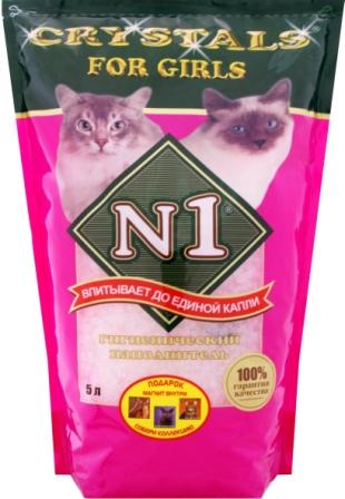 №1 Наполнитель для кошачьего туалета For Girls силикагель 5 л (розовый) 58036
