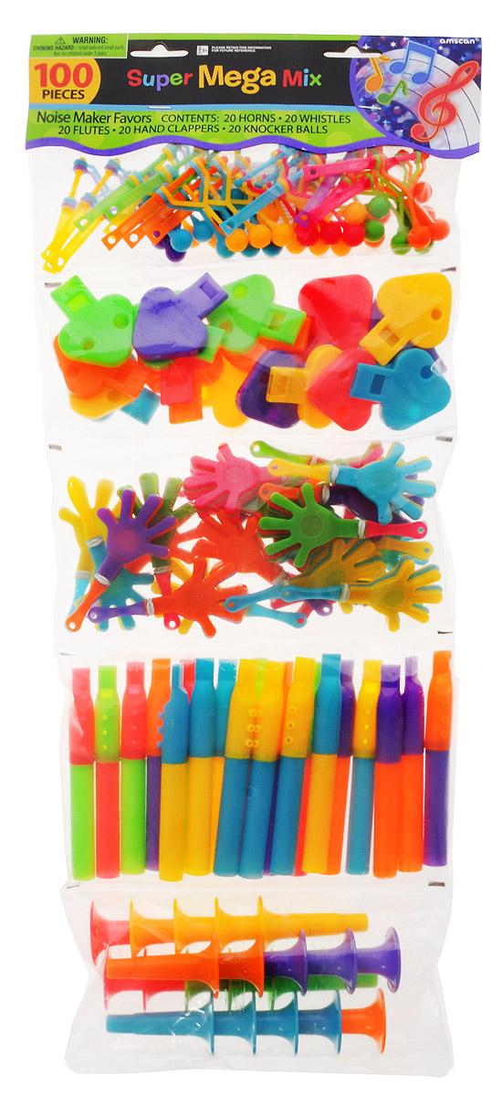 Amscan Игрушки для пиньяты Дуделки-Шумелки1507-0782Яркий комплект для пиньяты Дуделки-Шумелки содержит 5 видов пластмассовых игрушек ярких цветов (по 20 штук каждого): свистки, дудочки, ладошки-трещотки, флейты, трещотки-крутилки. Отличное решение стильных подарков для вечеринки.