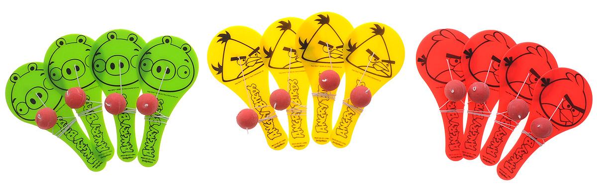 Amscan Игра лапта с мячиком Angry Birds1507-0873Отличная игра для любителей Angry Birds - маленькая ракетка с шариком на резинке. Можно разбиться на 3 команды: Красной Птицы, Треугольной Птицы и Короля Свиней, и посмотреть, кто удержит мяч дольше! В упаковке 12 ракеток, по 4 штуки каждого дизайна.