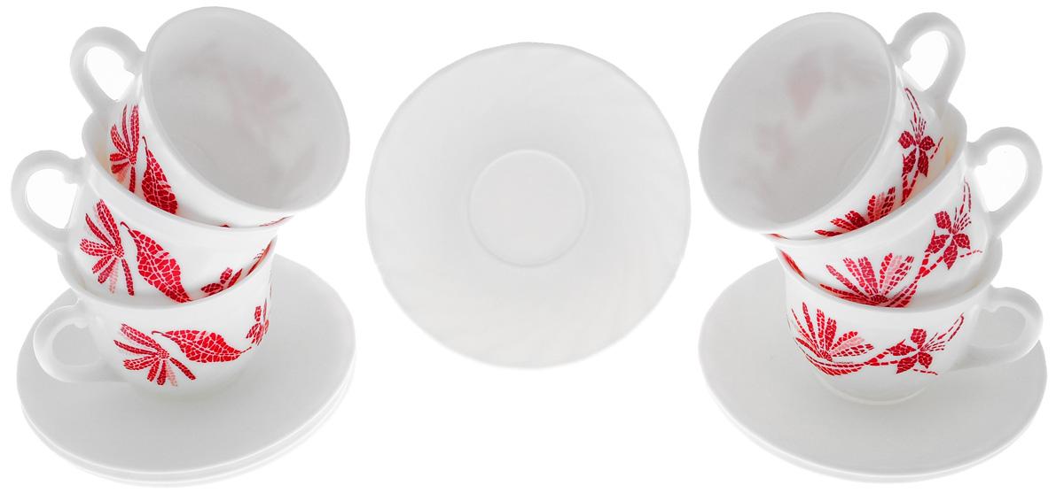 Набор чайный Luminarc Romancia, цвет: белый, красный, 12 предметовH2408Чайный набор Luminarc Romancia изготовлен из высококачественного стекла. Набор состоит из шести чашек и шести блюдец. Элегантный дизайн и совершенные формы предметов набора привлекут к себе внимание и украсят интерьер вашей кухни. Чайный набор Luminarc Romancia идеально подойдет для сервировки стола и станет отличным подарком к любому празднику. Объем чашек: 200 мл. Диаметр чашек по верхнему краю: 8,5 см. Высота чашек: 6,5 см. Диаметр блюдец: 13,5 см.