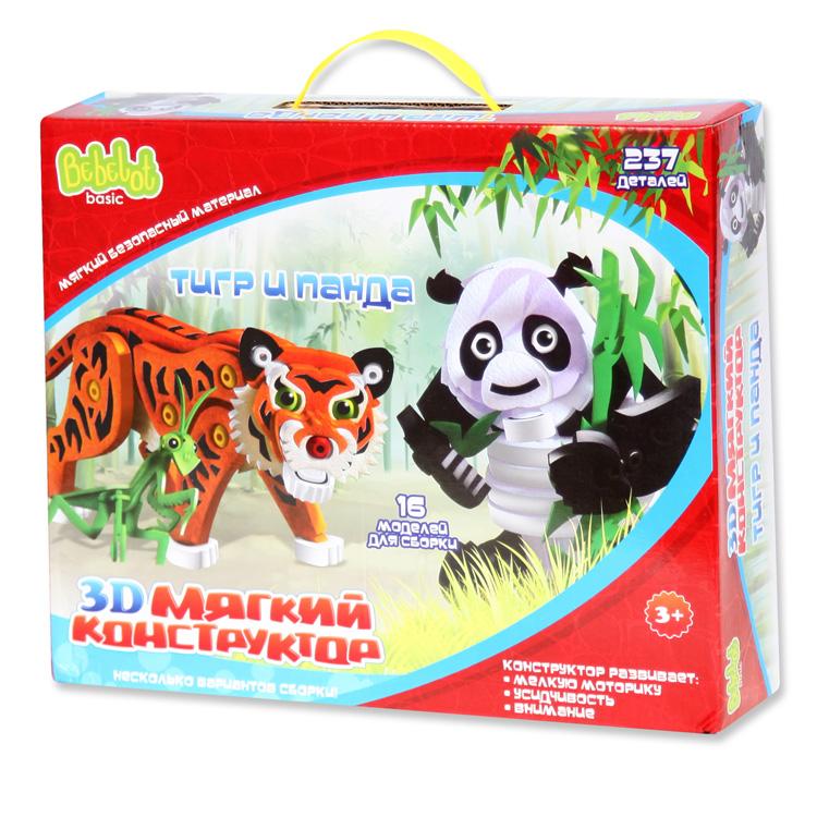 Bebelot 3D мягкий конструктор «Тигр и панда» (16 моделей для сборки, 237 дет.)