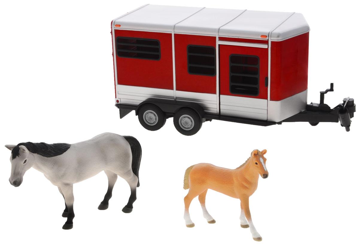 Tomy Игровой набор Horse Trailer With Horses42846RUИгровой набор Tomy Horse Trailer With Horses станет великолепным дополнением для игр малыша и понравится любому ребенку, увлеченному лошадьми. В набор входит трейлер для перевозки и две фигурки: взрослая лошадь и маленький жеребенок. Задняя дверь трейлера откидывается, позволяя разместить фигурки лошадок внутри. Также трейлер дополнен окошком и открывающейся боковой дверью. Трейлер можно прицепить к другим машинкам Tomy из серии Britain Big Farm, или играть с ним отдельно. Трейлер и фигурки выполнены из прочного высококачественного пластика. Такой набор непременно придется по вкусу вашему маленькому любителю животных. Ребенок сможет часами играть с ним, придумывая и разыгрывая различные истории. Порадуйте его таким замечательным подарком!