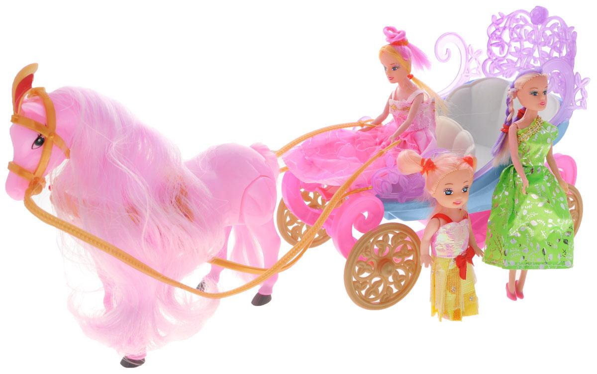 Junfa Toys Игровой набор Принцессы в экипаже цвет розовый
