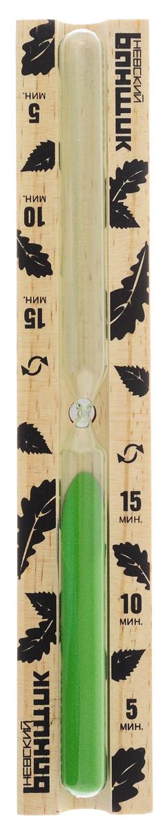 Часы песочные для бани и сауны Невский банщик, 29 х 5 х 3 смБ-113_зеленыйПесочные часы Невский банщик выполнены из натурального дерева и термостойкого стекла. Они предназначены для использования в бане и сауне. Часы не боятся высоких температур и влажности. Благодаря таким часам вы сможете правильно определить длительность процедур. Часы рассчитаны на 15 минут с интервалами через 5, 10 и 15 минут.