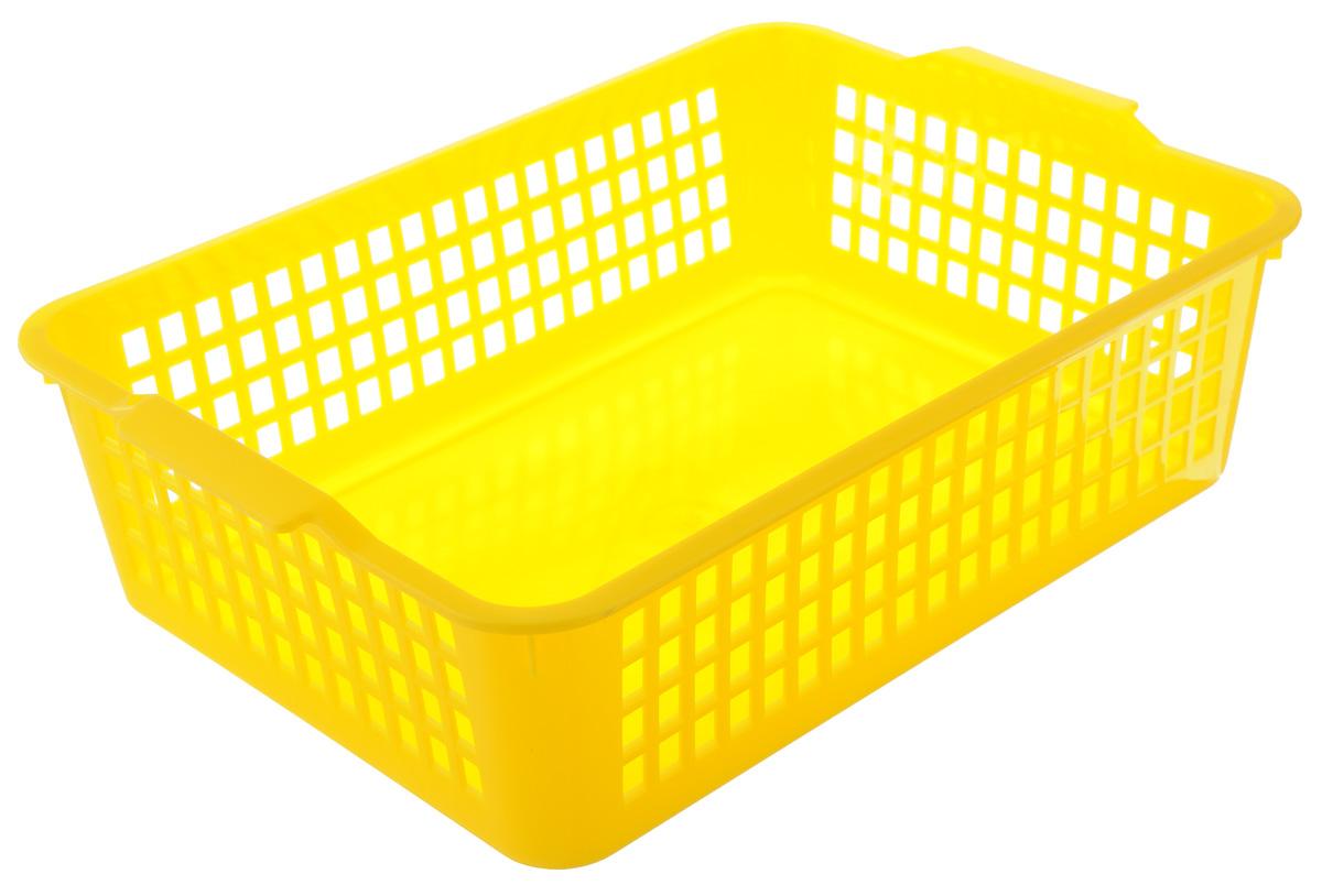 Корзинка универсальная Econova, цвет: желтый, 31 х 22 х 8,5 смС12841_желтыйУниверсальная корзинка Econova изготовлена из высококачественного пластика с перфорированными стенками и сплошным дном. Такая корзинка непременно пригодится в быту, в ней можно хранить кухонные принадлежности, специи, аксессуары для ванной и другие бытовые предметы, диски и канцелярию.
