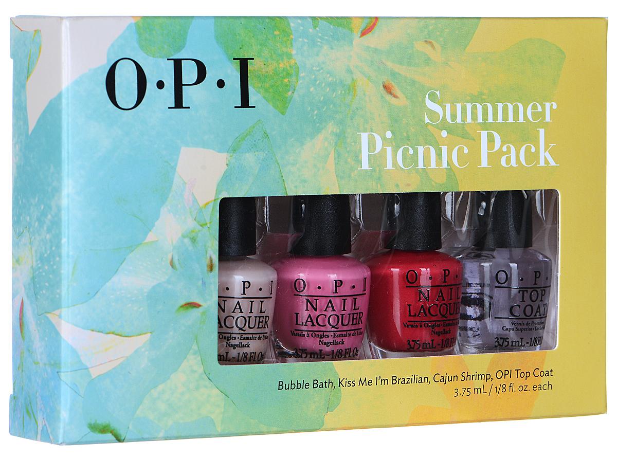 OPI Набор мини-лаков для ногтей Summer Picnic Pack, 4 х 3,75 млSRG21Набор косметики мини-лаков для ногтей OPI Summer Picnic Pack - это миниатюры популярных цветов лаков, среди которых такие оттенки как: Bubble Bath, Kiss Me I'm Brazilian, Cajun Shrimp, а также верхнее покрытие Top Coat. Лаки для ногтей однородно ложатся и равномерно распределяются по всей поверхности ногтевой пластины. Точно рассчитанная длина и диаметр колпачка, который не скользит в руках, делает его удобным для любого размера и формы пальцев. Уплотненное дно придает флакону устойчивость. Товар сертифицирован.