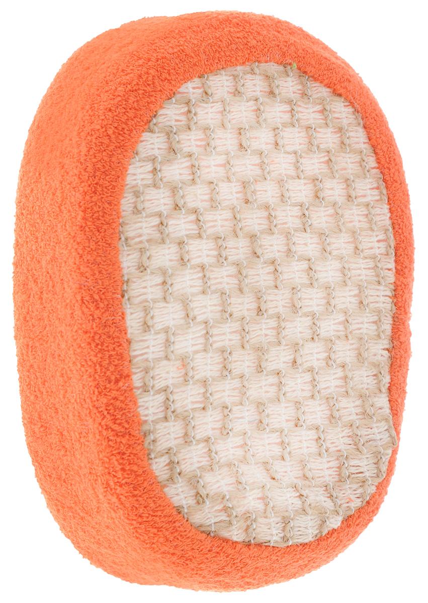 Мочалка объемная Eva, из крапивы, цвет: оранжевый, 10 х 15 х 5 смМ60_оранжевыйОбъемная мочалка Eva, выполненная из крапивы и хлопка, превосходно массажирует, тонизирует и очищает кожу. Волокна крапивы одновременно прочные и тонкие. Мочалка идеально подходит для профилактики и борьбы с целлюлитом. Благодаря своему составу мочалка отлично пенится. На задней стороне изделия есть специальная резинка, благодаря которой мочалка фиксируется на руке. Подходит для всех типов кожи и не вызывает аллергии. Уровень жесткости: средний.