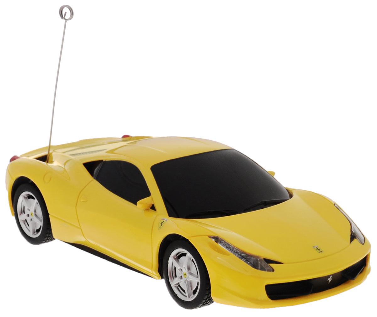 Rastar Радиоуправляемая модель Ferrari 458 Italia цвет желтый масштаб 1:3260500_желтыйРадиоуправляемая модель Rastar Ferrari 458 Italia станет отличным подарком любому мальчику! Все дети хотят иметь в наборе своих игрушек ослепительные, невероятные и модные автомобили на радиоуправлении. Тем более, если это автомобиль известной марки с проработкой всех деталей, удивляющий приятным качеством и видом. Одной из таких моделей является автомобиль на радиоуправлении Rastar Ferrari 458 Italia. Это точная копия настоящего авто в масштабе 1:32. Авто обладает неповторимым провокационным стилем и спортивным характером. Потрясающая маневренность, динамика и покладистость - отличительные качества этой модели. Возможные движения: вперед, назад, вправо, влево, остановка. При движении загораются фары и стоп-сигналы. Пульт управления работает на частоте 40 MHz. Для работы машины необходимы 2 батарейки типа АА (не входят в комплект). Для работы пульта управления необходимы 2 батарейки типа АА (не входят в комплект).