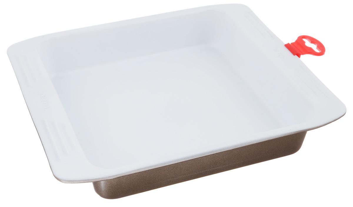 Форма для пирога Tefal EasyGrip, квадратная, с керамическим покрытием, 20 см х 20 см2100083290Форма для пирога Tefal EasyGrip изготовлена из алюминиевого сплава с антипригарным керамическим покрытием. Изделие не содержит кадмия и свинца, а также вредной примеси PFOA, оно абсолютно экологично и безопасно для здоровья. Керамическое покрытие обладает высокой прочностью, пища не пригорает и не прилипает к стенкам, готовые блюда легко вынимаются из формы. Форма идеальна для приготовления различных пирогов, запеканок, мясных и рыбных блюд. Изделие можно использовать в духовке при температуре до +230°С. Рекомендуется ручная чистка. Внутренний размер формы: 20 см х 20 см. Внешний размер формы (с учетом бортиков): 27 см х 23 см. Высота стенки: 4,5 см.
