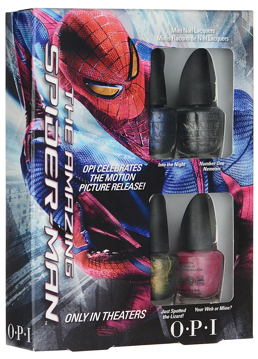 OPI Набор мини-лаков для ногтей The Amazing Spider-Man, 4 х 3,75 млDCM04Набор мини-лаков OPI The Amazing Spider-Man включает в себя четыре самых популярных оттенка коллекции Spider-Man, представленной в России: Into the Night - этот идеальный синий был создан, чтобы незаметно подкрасться; Number One Nemesis - блесни этим сверкающим никелем; Just Spotted the Lizard! - рассмотри этот пресмыкающийся желто-зеленый; Your Web or Mine? - идеальный розовый для щекотливых ситуаций. Лаки для ногтей однородно ложатся и равномерно распределяются по всей поверхности ногтевой пластины. Точно рассчитанная длина и диаметр колпачка, который не скользит в руках, делает его удобным для любого размера и формы пальцев. Уплотненное дно придает флакону устойчивость. Каждый флакон лака для ногтей отличает эксклюзивная кисточка ProWide для идеально точного нанесения лака на ногти. Товар сертифицирован.