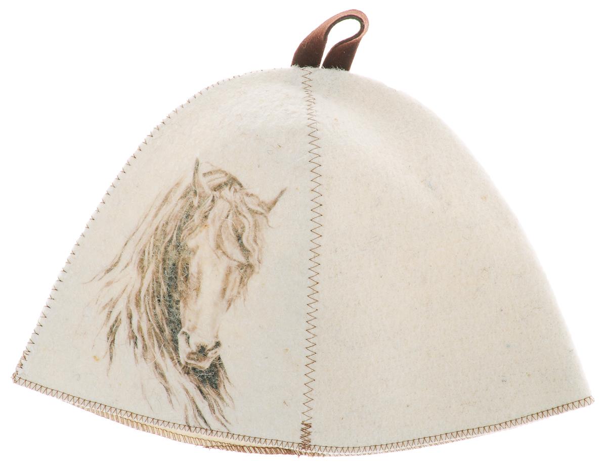 Шапка для бани и сауны Главбаня Лошадь с большой гривой, войлокА332_с большой гривойБанная шапка Главбаня изготовлена из высококачественного войлока и декорирована изображением лошади с большой гривой. Банная шапка - это незаменимый аксессуар для любителей попариться в русской бане и для тех, кто предпочитает сухой жар финской бани. Кроме того, шапка защитит волосы от сухости и ломкости, голову от перегрева и предотвратит появление головокружения. На шапке имеется петелька, с помощью которой ее можно повесить на крючок в предбаннике. Такая шапка станет отличным подарком для любителей отдыха в бане или сауне. Обхват головы: 71 см. Высота шапки: 24 см. Материал: войлок (50% шерсть, 50% полиэфир).