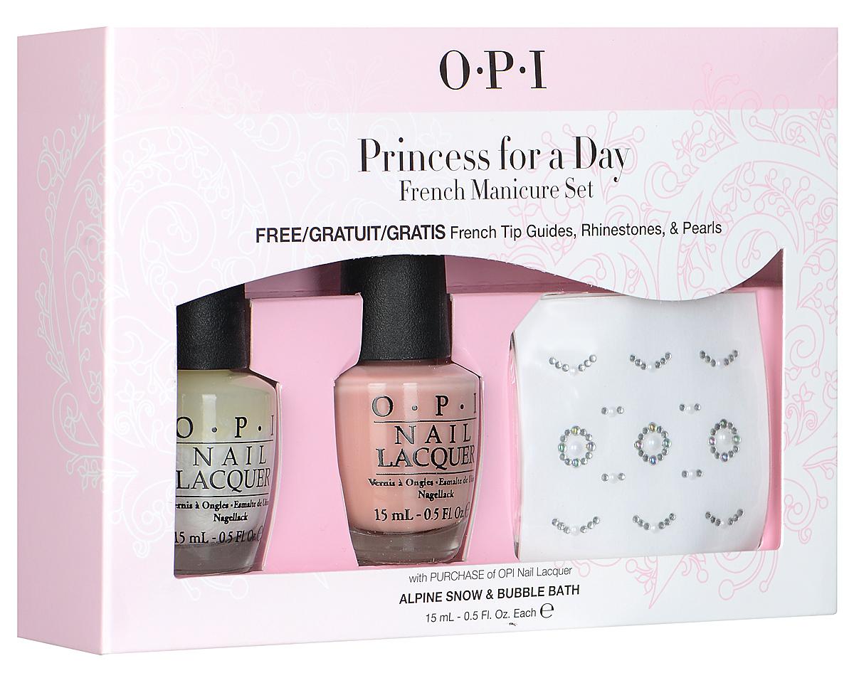 "OPI Набор ""Princess for a Day"": лак для ногтей, тон ""Alpine Snow"", 15 мл, тон ""Bubble Bath"", 15 мл, трафарет, 2 шт"