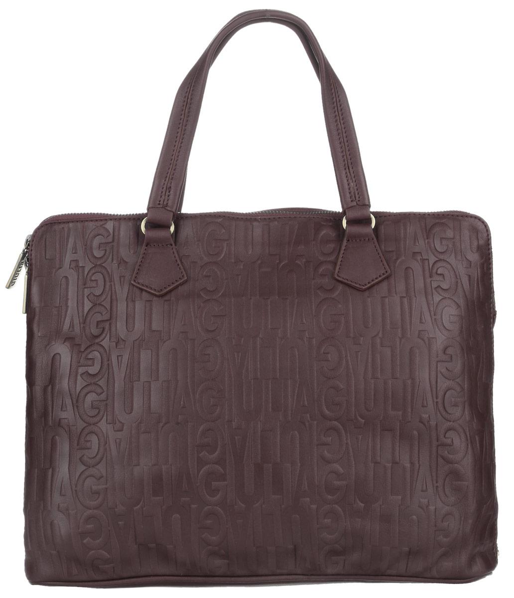 Сумка-папка мужская Giulia, цвет: темно-коричневый. 3126231262 dark brownМужская сумка-папка для документов Giulia выполнена из натуральной кожи с декоративным тиснением. Сумка имеет одно основное отделение, закрывающееся на застежку-молнию. Внутри находится прорезной карман на застежке-молнии и открытый пришивной карман с двумя перегородками. Снаружи на задней стенке располагается прорезной карман на застежке-молнии. Изделие оснащено двумя удобными ручками. Сумка вмещает документы формата A4. Функциональная вместительная сумка-папка станет стильным аксессуаром для делового мужчины.