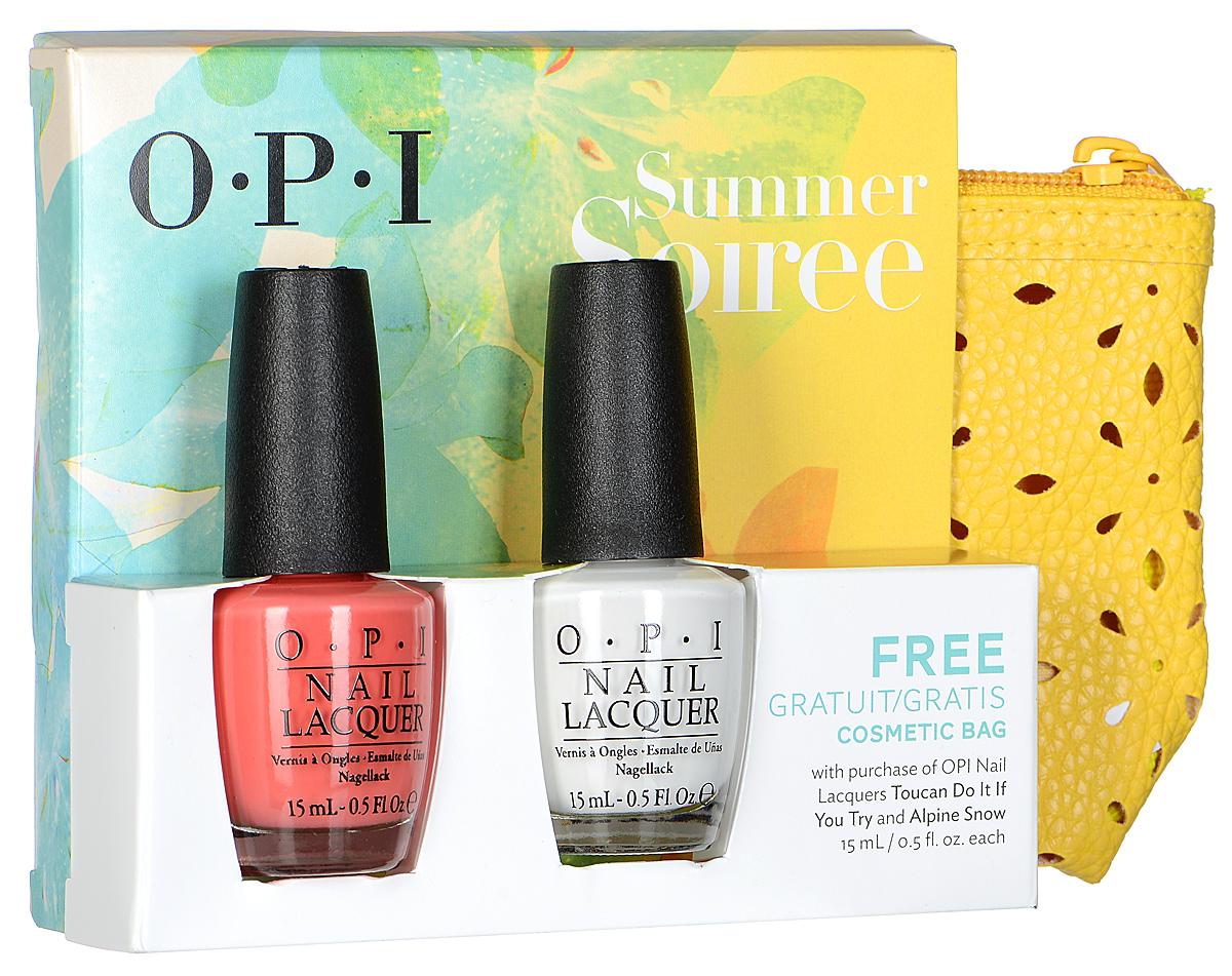 "OPI Набор ""Summer Soiree"": лак для ногтей, тон ""Toucan Do It If You Try"", 15 мл, тон ""Alpine Snow"", 15 мл, косметичка"