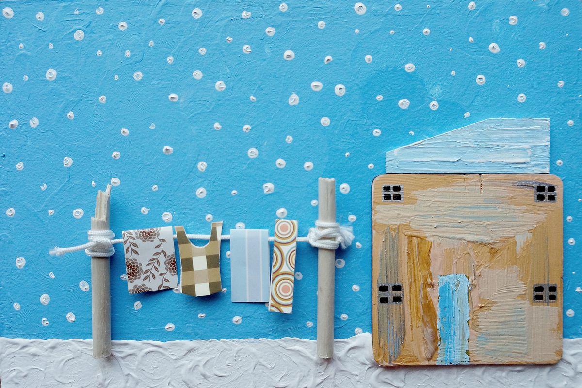 Авторская объемная картина для детской Снежная свежесть. Ассамбляж, 30 х 20 смАКДДССТихо-тихо.. Немножко нежной снежности для морозной свежести... Картина атмосферная и настроенческая. Создана в стиле минимализма и украшена объемными декоративными элементами. Холст на картоне, акрил, объемные декоративные элементы. Багет. Подвес на обратной стороне Картина не требует дополнительной защиты, ее достаточно повесить на стену. Оформления не нужно. Ронять не рекомендуется.