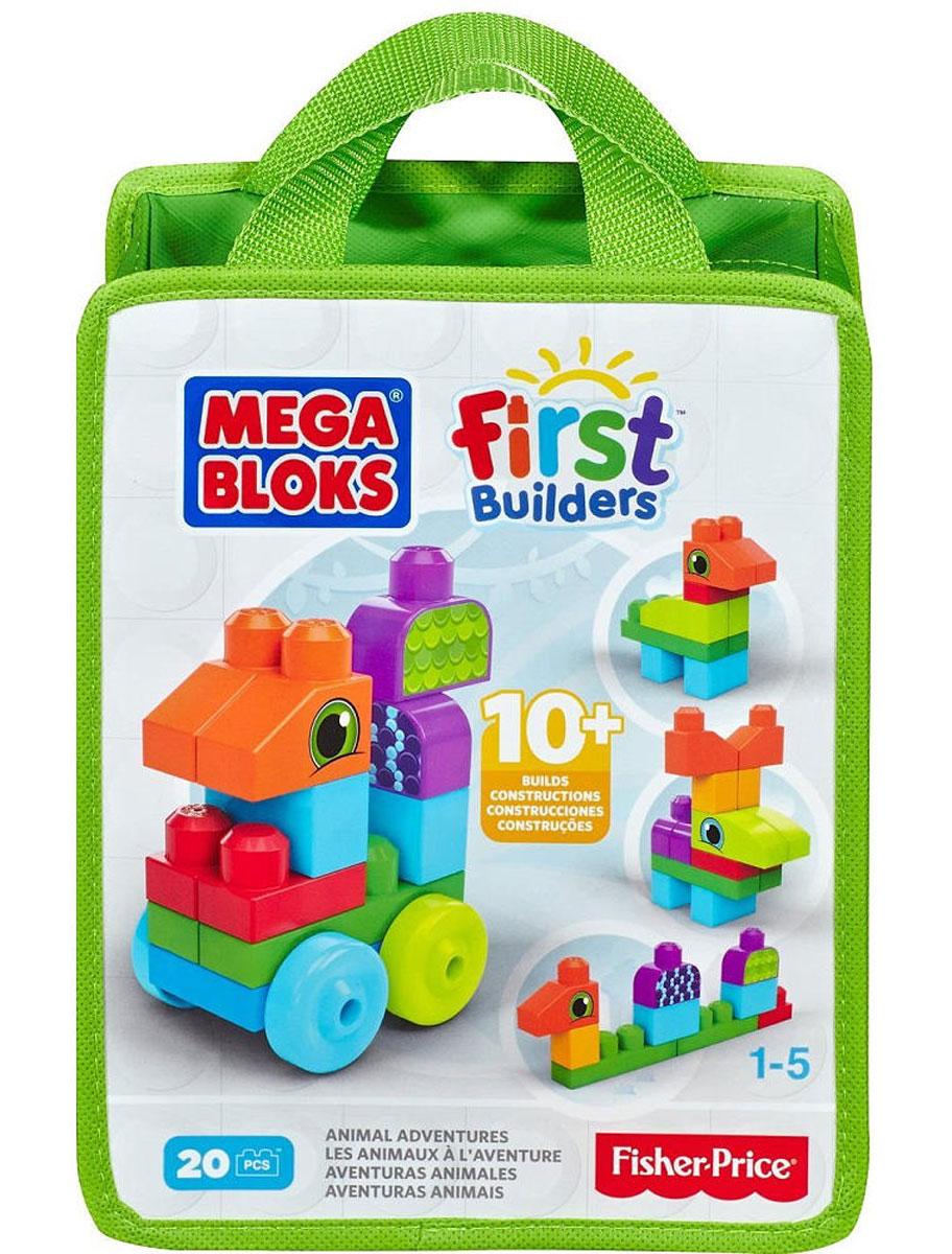 Mega Bloks First Builders Конструктор Приключения животныхCNH08_CNH10С набором обучающих конструкторов First Builders маленькие строители будут увлечены длительное время. Элементы конструктора сделаны специально для маленьких ручек. Ваш маленький строитель может по своему вкусу собирать различных животных, используя элементы различной формы и цвета. После игры элементы конструктора можно сложить в удобную сумку на молнии. Конструктор идеально подходит для детей от 1 до 5 лет. Порадуйте своего малыша таким прекрасным подарком!