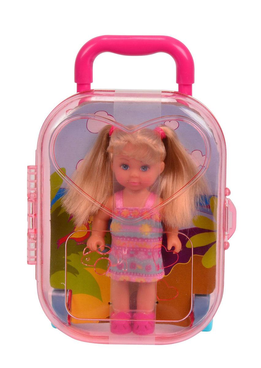 Simba Мини-кукла Еви в чемоданчике цвет платья розовый голубой5733134_розово-голубое платье в цветочекКукла Simba Еви в чемоданчике порадует любую девочку и надолго увлечет ее. Набор включает в себя куклу и прозрачный пластиковый чемоданчик, который одновременно является и упаковкой. Чемоданчик имеет выдвижную ручку, колеса вращаются. Малышка Еви одета в стильное платье с цветочками розового и голубого цвета. На ногах у нее - яркие летние сандалики. Вашей дочурке непременно понравится заплетать длинные белокурые волосы куклы, придумывая разнообразные прически. Руки, ноги и голова куклы подвижны, благодаря чему ей можно придавать разнообразные позы. Игры с куклой способствуют эмоциональному развитию, помогают формировать воображение и художественный вкус, а также разовьют в вашей малышке чувство ответственности и заботы. Великолепное качество исполнения делают эту куколку чудесным подарком к любому празднику.