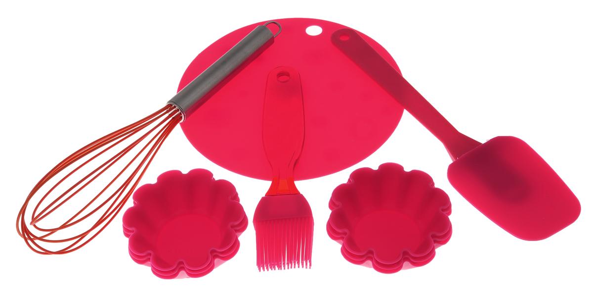 Набор для выпечки Marmiton, цвет: красный, оранжевый, 10 предметов11164Если вы любите побаловать своих домашних вкусной и ароматной выпечкой по вашему оригинальному рецепту, то набор для выпечки Marmiton как раз то, что вам нужно! Он прекрасно подходит для приготовления выпечки, шоколада, желирования, замораживания, а также для приготовления птицы, мяса, рыбы, фаршированных овощей и фруктовых десертов. Набор состоит из шести формочек, лопатки, кисти, коврика и венчика. Предметы набора выполнены из силикона. Силикон устойчив к перепадам температуры от -40°C до +230°C, практичен при хранении за счет гибкости. Рукоятка венчика изготовлена из нержавеющей стали. Кисточка предназначена для смазывания выпечки яйцом, кремом, глазурью, а также для смазывания сковороды маслом при приготовлении блинов и оладий. Лопатка предназначена для вынимания готовой выпечки с противня. Венчик легко взбивает тесто и другие продукты. Коврик можно использовать под выпечку, чтобы та не пригорела. Силиконовые формы обладают естественными антипригарными...