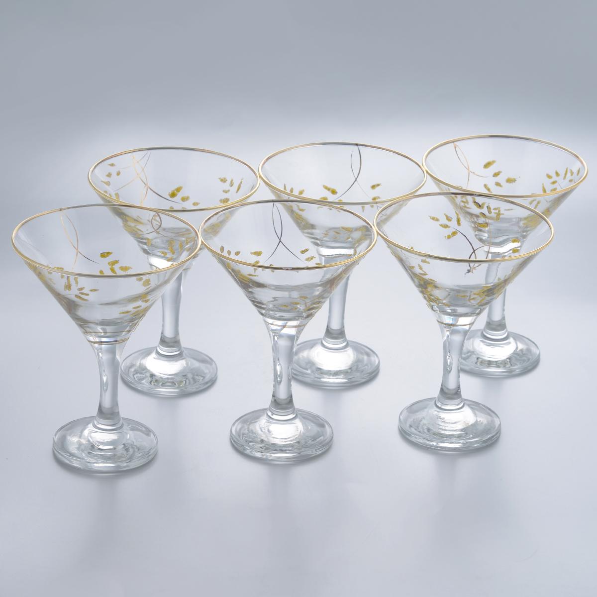 Набор бокалов для мартини Гусь-Хрустальный Колосок, 170 мл, 6 штK28-410Набор Гусь-Хрустальный Колосок состоит из 6 бокалов на длинных ножках, изготовленных из высококачественного натрий-кальций-силикатного стекла. Изделия оформлены красивым зеркальным покрытием и золотистым глянцевым орнаментом. Бокалы предназначены для подачи мартини. Такой набор прекрасно дополнит праздничный стол и станет желанным подарком в любом доме. Разрешается мыть в посудомоечной машине. Диаметр бокала (по верхнему краю): 10,5 см. Высота бокала: 13,5 см. Диаметр основания бокала: 6,3 см.