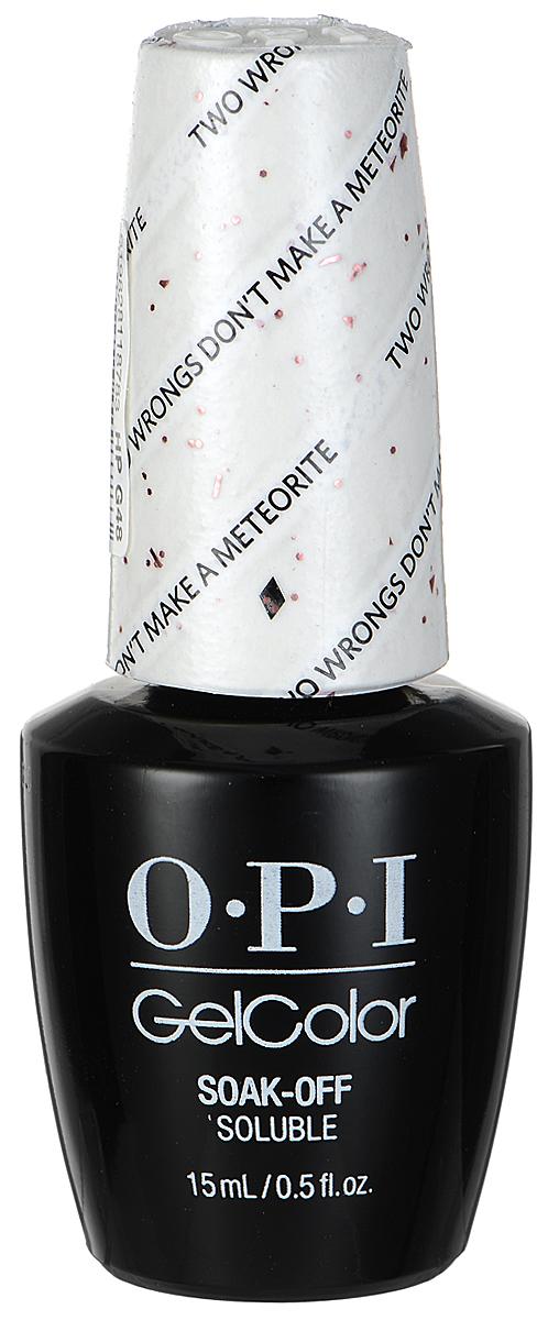 OPI Гель-лак GelColor, тон Two Wrongs Dont Make a Meteorite, 15 млHPG48Гель-лак OPI GelColor - это 100% гель в лаковом флаконе! В отличие от гелей-лаков, из-за отсутствия лаковой составляющей GelColor не подвержен сколам и трещинам. Светоотверждение в LED-лампе происходит за 30 секунд, а за 2 минуты в стандартной UV-лампе. Не требует шлифовки ногтей перед нанесением и опиливания при снятии. Снимается с помощью отмачивания за 15 минут. Не содержит ацетона, который может проникать в верхний слой ногтя и портить его. Не тускнеет и не выгорает под солнцем, сохраняя блеск до процедуры снятия. Товар сертифицирован.