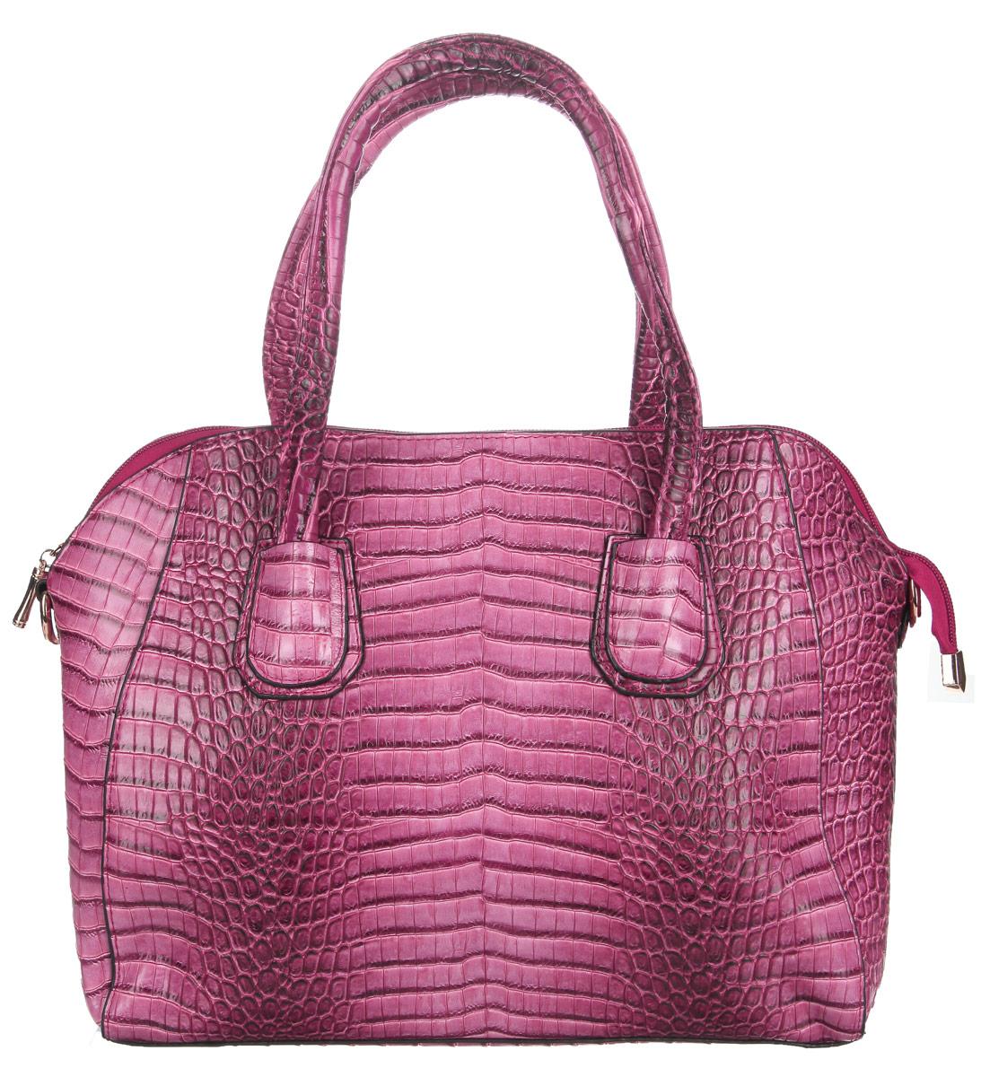 Сумка женская Flioraj, цвет: малиновый. 8652186521 краснЭлегантная сумка Flioraj выполнена из искусственной кожи c тиснением под рептилию. Изделие содержит одно отделение, разделенное пополам карманом-средником на застежке-молнии. Застегивается сумка на застежку-молнию. Внутри расположены два накладных кармана для телефона и мелочей, и прорезной карман на застежке-молнии. Снаружи на задней стенке расположен прорезной карман на застежке-молнии. Изделие оснащено удобными ручками. В комплект входит съемный плечевой ремень, длина которого регулируется. Основание дополнено металлическими ножками, защищающими изделие от повреждений. Сумка Flioraj прекрасно дополнит образ и подчеркнет ваш неповторимый стиль.