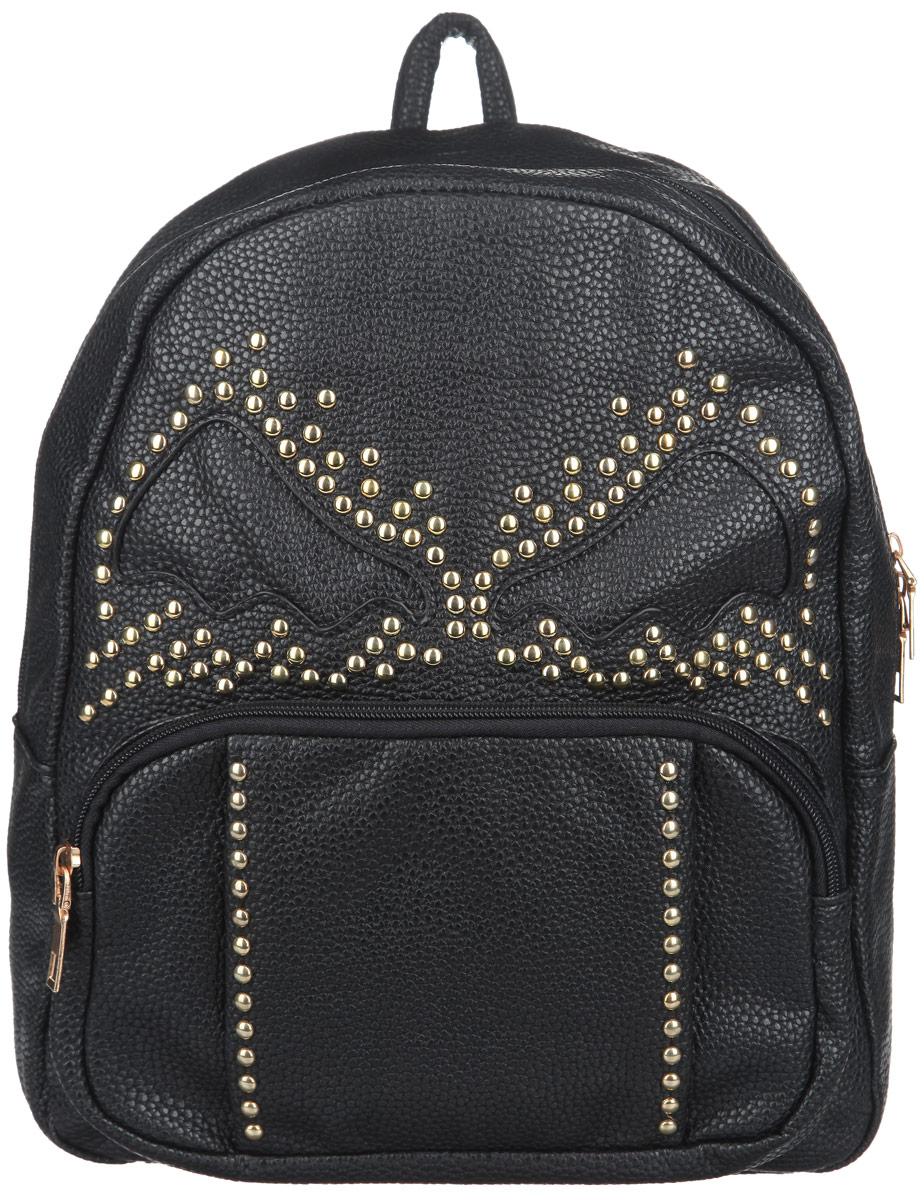 Рюкзак женский Leighton, цвет: черный. 86068606 чернСтильный женский рюкзак Leighton выполнен из мягкой искусственной кожи с фактурным тиснением и оформлен металлическими заклепками. Изделие содержит одно основное отделение, закрывающееся на застежку-молнию. Внутри имеются накладной открытый карман. Снаружи на передней стенке располагается накладной карман на застежке-молнии. Модель оснащена двумя лямками, которые регулируются по длине, и удобной ручкой. Оригинальный рюкзак подчеркнет вашу уверенность в себе и чувство стиля.