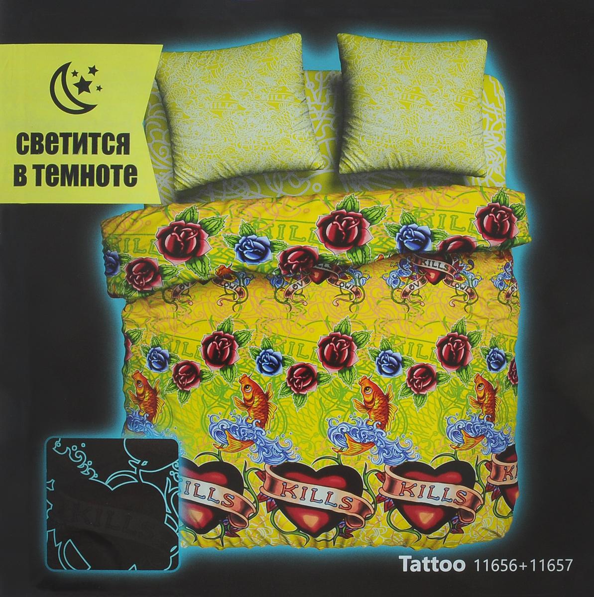 Комплект белья Unison Tattoo, 2-спальный, наволочки 70х70, цвет: лимонный, салатовый, малиновый. 268375268375Оригинальный комплект постельного белья Unison Tattoo из серии Neon Collection выполнен из биоматина, натуральной 100% хлопковой ткани, которая имеет свойство, светится в темноте. Постельное белье светится в темноте без помощи ультрафиолета. Заряжается комплект от любого источника света, что позволяет святиться в темноте продолжительное время. Комплект оформлен оригинальным рисунком, который имеет потенциал свечения до 8 часов с эффектом угасания. Ткань приятная на ощупь, при этом она прочная, хорошо сохраняет форму и легко гладится. Комплект состоит из пододеяльника, простыни и двух наволочек. Используемые красители безопасны для человека и животных. Благодаря такому комплекту постельного белья вы создадите неповторимую атмосферу в вашей спальне. Рекомендуется стирать в стиральной машине в мешке в режиме деликатной стирки, при температуре до +40°C, предварительно вывернув комплект наизнанку.