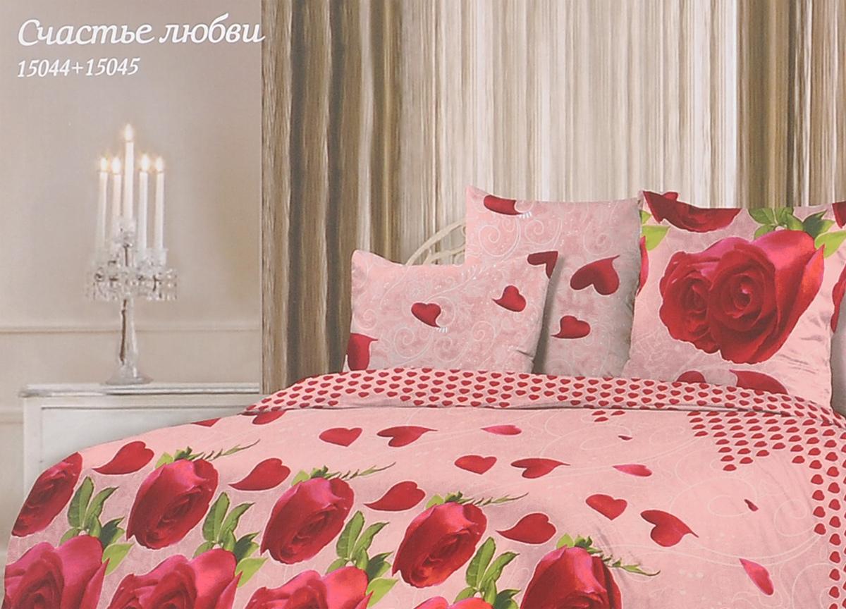 Комплект белья Romantic Счастье любви, 1,5-спальный, наволочки 50х70, цвет: розовый, красный. 314923314923Роскошный комплект постельного белья Romantic Счастье любви выполнен из ткани Lux Cotton, произведенной из натурального длинноволокнистого мягкого 100% хлопка. Ткань приятная на ощупь, при этом она прочная, хорошо сохраняет форму и легко гладится. Комплект состоит из пододеяльника, простыни и двух наволочек, оформленных цветочным принтом. Постельное белье Romantic создано специально для утонченных и романтичных натур. Дизайн постельного белья подчеркнет ваш индивидуальный стиль и создаст неповторимую и романтическую атмосферу в вашей спальне.