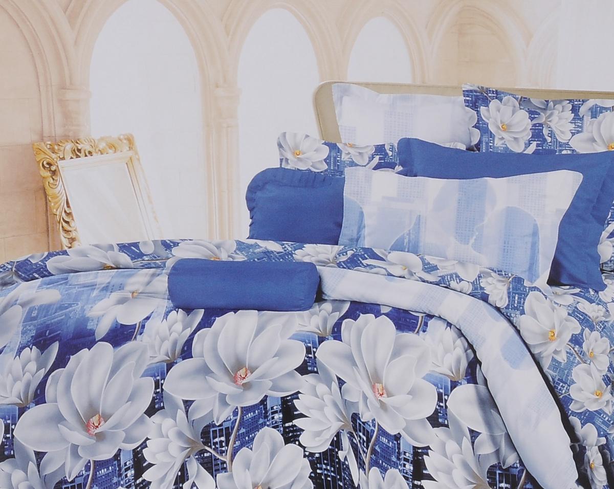 Комплект белья Romantic Ночной поцелуй, семейный, наволочки 70х70, цвет: синий, серый, белый. 295497295497Роскошный комплект постельного белья Romantic Ночной поцелуй выполнен из ткани Lux Cotton, произведенной из натурального длинноволокнистого мягкого 100% хлопка. Ткань приятная на ощупь, при этом она прочная, хорошо сохраняет форму и легко гладится. Комплект состоит из двух пододеяльников, простыни и двух наволочек, оформленных цветочным принтом. Постельное белье Romantic создано специально для утонченных и романтичных натур. Дизайн постельного белья подчеркнет ваш индивидуальный стиль и создаст неповторимую и романтическую атмосферу в вашей спальне.