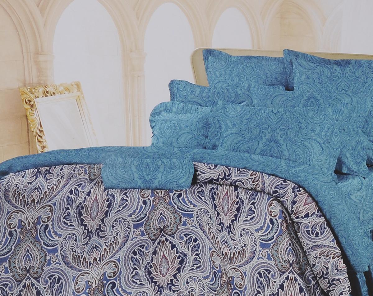 Комплект белья Romantic Селин, 1,5-спальный, наволочки 70х70, цвет: темно-бирюзовый, синий. 319084319084Роскошный комплект постельного белья Romantic Селин выполнен из ткани Lux Cotton, произведенной из натурального длинноволокнистого мягкого 100% хлопка. Ткань приятная на ощупь, при этом она прочная, хорошо сохраняет форму и легко гладится. Комплект состоит из пододеяльника, простыни и двух наволочек, оформленных оригинальными узорами. Постельное белье Romantic создано специально для утонченных и романтичных натур. Дизайн постельного белья подчеркнет ваш индивидуальный стиль и создаст неповторимую и романтическую атмосферу в вашей спальне.