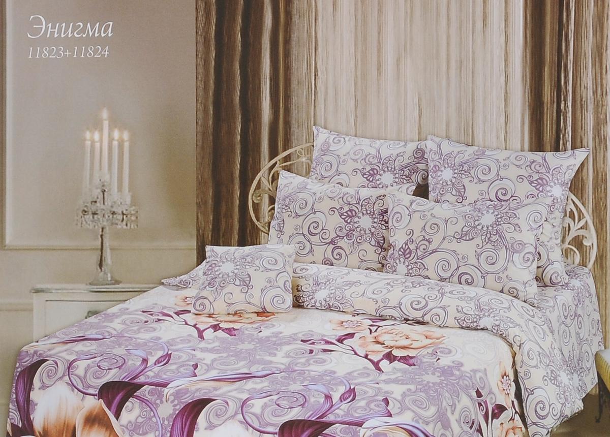 Комплект белья Romantic Энигма, 1,5-спальный, наволочки 50х70, цвет: фиолетовый, бежевый, белый. 288102288102Роскошный комплект постельного белья Romantic Энигма выполнен из ткани Lux Cotton, произведенной из натурального длинноволокнистого мягкого 100% хлопка. Ткань приятная на ощупь, при этом она прочная, хорошо сохраняет форму и легко гладится. Комплект состоит из пододеяльника, простыни и двух наволочек, оформленных изображением цветов и узоров. Постельное белье Romantic создано специально для утонченных и романтичных натур. Дизайн постельного белья подчеркнет ваш индивидуальный стиль и создаст неповторимую и романтическую атмосферу в вашей спальне.