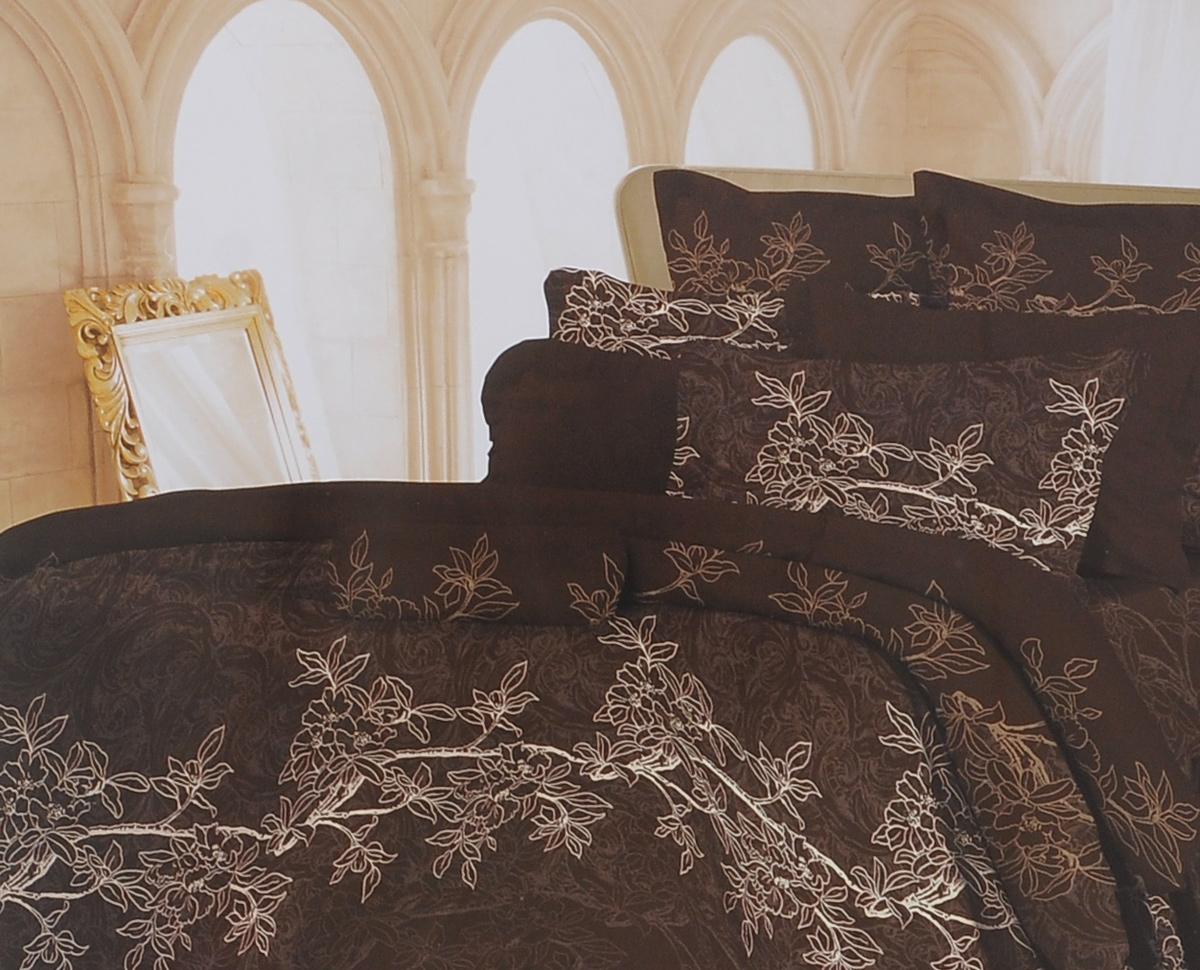 Комплект белья Romantic Милена, 2-спальный, наволочки 70х70, цвет: темно-коричневый. 326084326084Роскошный комплект постельного белья Romantic Милена выполнен из ткани Lux Cotton, произведенной из натурального длинноволокнистого мягкого 100% хлопка. Ткань приятная на ощупь, при этом она прочная, хорошо сохраняет форму и легко гладится. Комплект состоит из пододеяльника, простыни и двух наволочек, оформленных цветочный принтом. Постельное белье Romantic создано специально для утонченных и романтичных натур. Дизайн постельного белья подчеркнет ваш индивидуальный стиль и создаст неповторимую и романтическую атмосферу в вашей спальне.