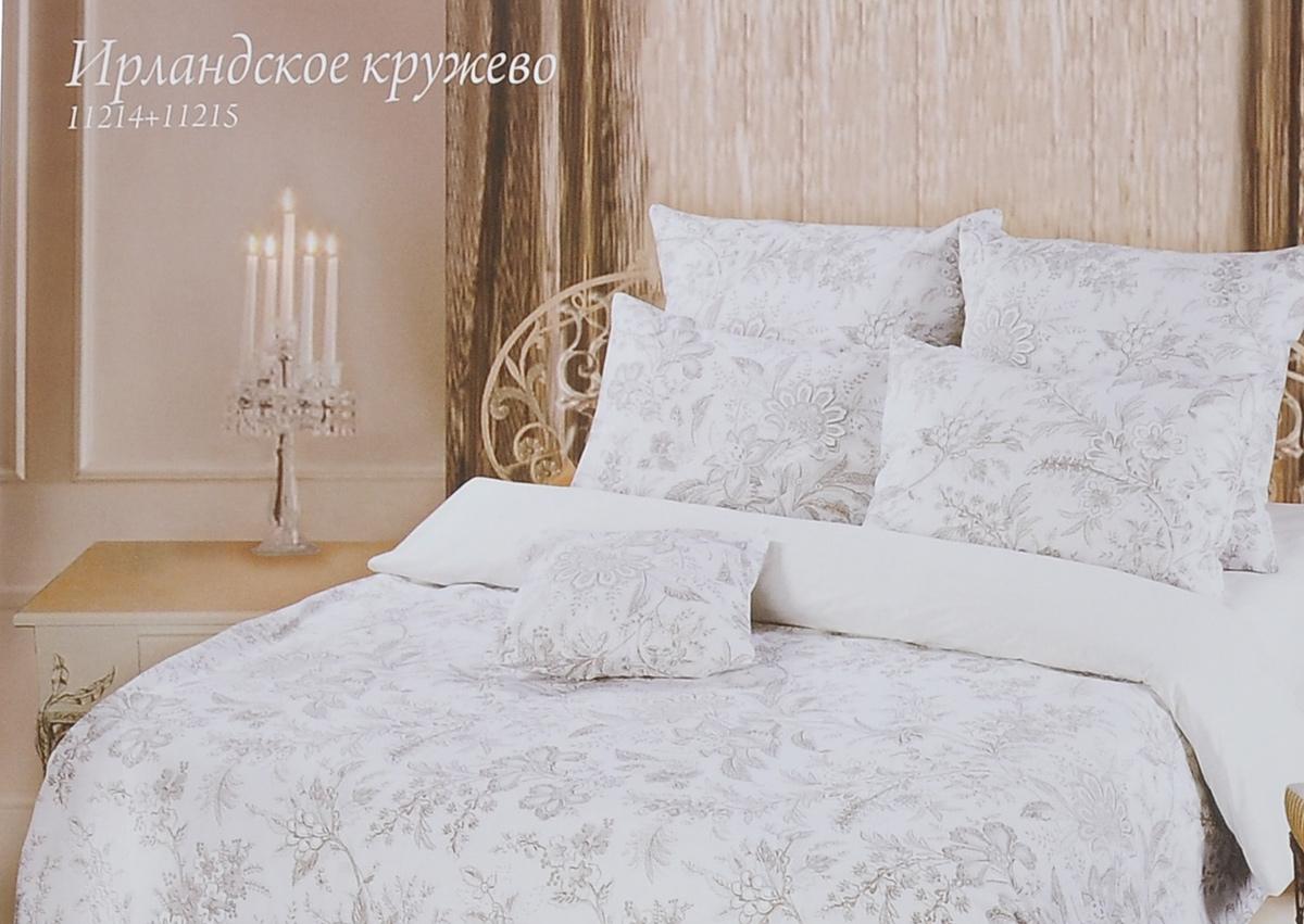 Комплект белья Romantic Ирландское кружево, 1,5-спальный, наволочки 70х70, цвет: белый, коричневый, серый. 233211233211Роскошный комплект постельного белья Romantic Ирландское кружево выполнен из ткани Lux Cotton, произведенной из натурального длинноволокнистого мягкого 100% хлопка. Ткань приятная на ощупь, при этом она прочная, хорошо сохраняет форму и легко гладится. Комплект состоит из пододеяльника, простыни и двух наволочек, оформленных цветочный принтом. Постельное белье Romantic создано специально для утонченных и романтичных натур. Дизайн постельного белья подчеркнет ваш индивидуальный стиль и создаст неповторимую и романтическую атмосферу в вашей спальне.