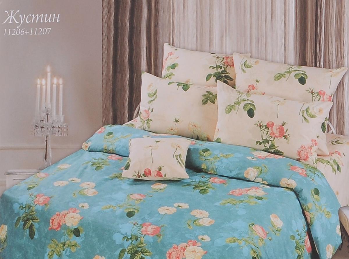 Комплект белья Romantic Жустин, 2-спальный, наволочки 70х70, цвет: слоновая кость, серо-голубой. 251114251114Роскошный комплект постельного белья Romantic Жустин выполнен из ткани Lux Cotton, произведенной из натурального длинноволокнистого мягкого 100% хлопка. Ткань приятная на ощупь, при этом она прочная, хорошо сохраняет форму и легко гладится. Комплект состоит из пододеяльника, простыни и двух наволочек, оформленных цветочным принтом. Постельное белье Romantic создано специально для утонченных и романтичных натур. Дизайн постельного белья подчеркнет ваш индивидуальный стиль и создаст неповторимую и романтическую атмосферу в вашей спальне.