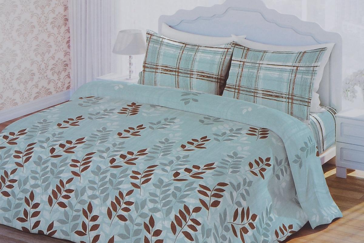 Комплект белья 1001 Ночь Листья, 2-спальный, наволочки 70х70, цвет: голубой, коричневый, белый. 311893311893Роскошный комплект постельного белья 1001 Ночь Листья выполнен из натурального 100% хлопка. Неоспоримым плюсом постельного белья из такой ткани является мягкость и легкость, она прекрасно пропускает воздух, приятная на ощупь и за ней легко ухаживать. Комплект состоит из пододеяльника, простыни и двух наволочек, оформленных изображением листьев. Благодаря такому комплекту постельного белья вы создадите неповторимую и романтическую атмосферу в вашей спальне.
