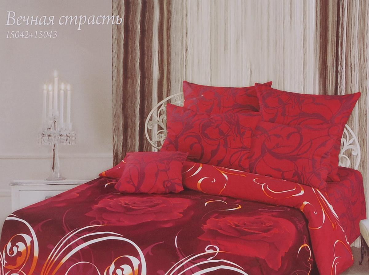 Комплект белья Romantic Вечная страсть, 1,5-спальный, наволочки 70х70, цвет: красный, бордовый. 295470295470Роскошный комплект постельного белья Romantic Вечная страсть выполнен из ткани Lux Cotton, произведенной из натурального длинноволокнистого мягкого 100% хлопка. Ткань приятная на ощупь, при этом она прочная, хорошо сохраняет форму и легко гладится. Комплект состоит из пододеяльника, простыни и двух наволочек, оформленных цветочным принтом. Постельное белье Romantic создано специально для утонченных и романтичных натур. Дизайн постельного белья подчеркнет ваш индивидуальный стиль и создаст неповторимую и романтическую атмосферу в вашей спальне.