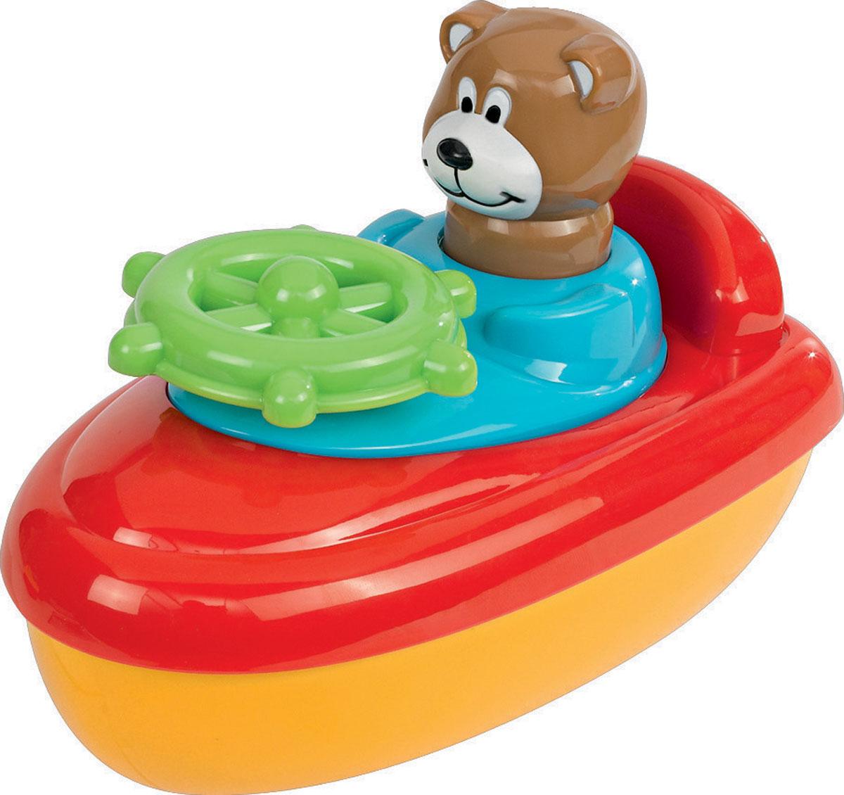 Simba Игрушка для ванны Лодка с мишкой4017_мишкаЯркая игрушка для ванны Simba Лодка с фигуркой, чтобы полезное занятие стало еще очень занимательным и любимым! Выполнено изделие из абсолютно безопасных для ребенка материалов. Игрушка представляет собой лодку, на которой располагается капитан в виде милого мишки. Покрутив штурвал ребенок услышит звонкий треск. Также при нажатии на голову медвежонка будет издаваться забавный звук. Ребенок сможет управлять лодкой по воде, а данный процесс будет участвовать в развитии моторики детских ручек. Веселый персонаж, сидящий в лодке, позабавит малыша, а процесс купания станет увлекательным и беззаботным.