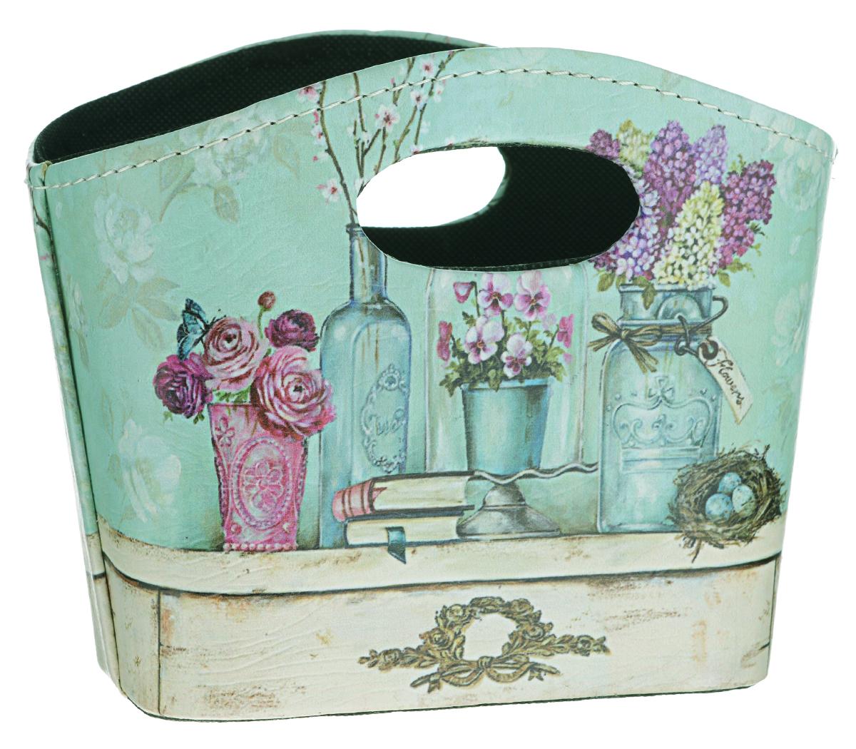 Сумка для хранения El Casa Натюрморт с фиалками, 20 х 11 х 16 см171170Интерьерная сумка El Casa Натюрморт с фиалками, выполненная из МДФ, текстиля и искусственной кожи, понравится всем ценителям оригинальных вещей. Благодаря прекрасному дизайну и необычной форме, такая сумка будет отлично смотреться в вашей гостиной или коридоре. В ней можно хранить всевозможные мелочи: расчески, заколки, журналы или газеты. Сумка El Casa Натюрморт с фиалками станет отличным подарком для ваших друзей и близких.