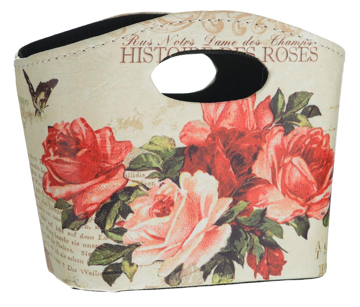 Сумка для хранения El Casa Розы, 20 см х 11 см х 16 см171173Интерьерная сумка El Casa Розы, выполненная из МДФ, текстиля и искусственной кожи, понравится всем ценителям оригинальных вещей. Благодаря прекрасному дизайну и необычной форме, такая сумка будет отлично смотреться в вашей гостиной или коридоре. В ней можно хранить всевозможные мелочи: расчески, заколки, журналы или газеты. Сумка El Casa Розы станет отличным подарком для ваших друзей и близких.