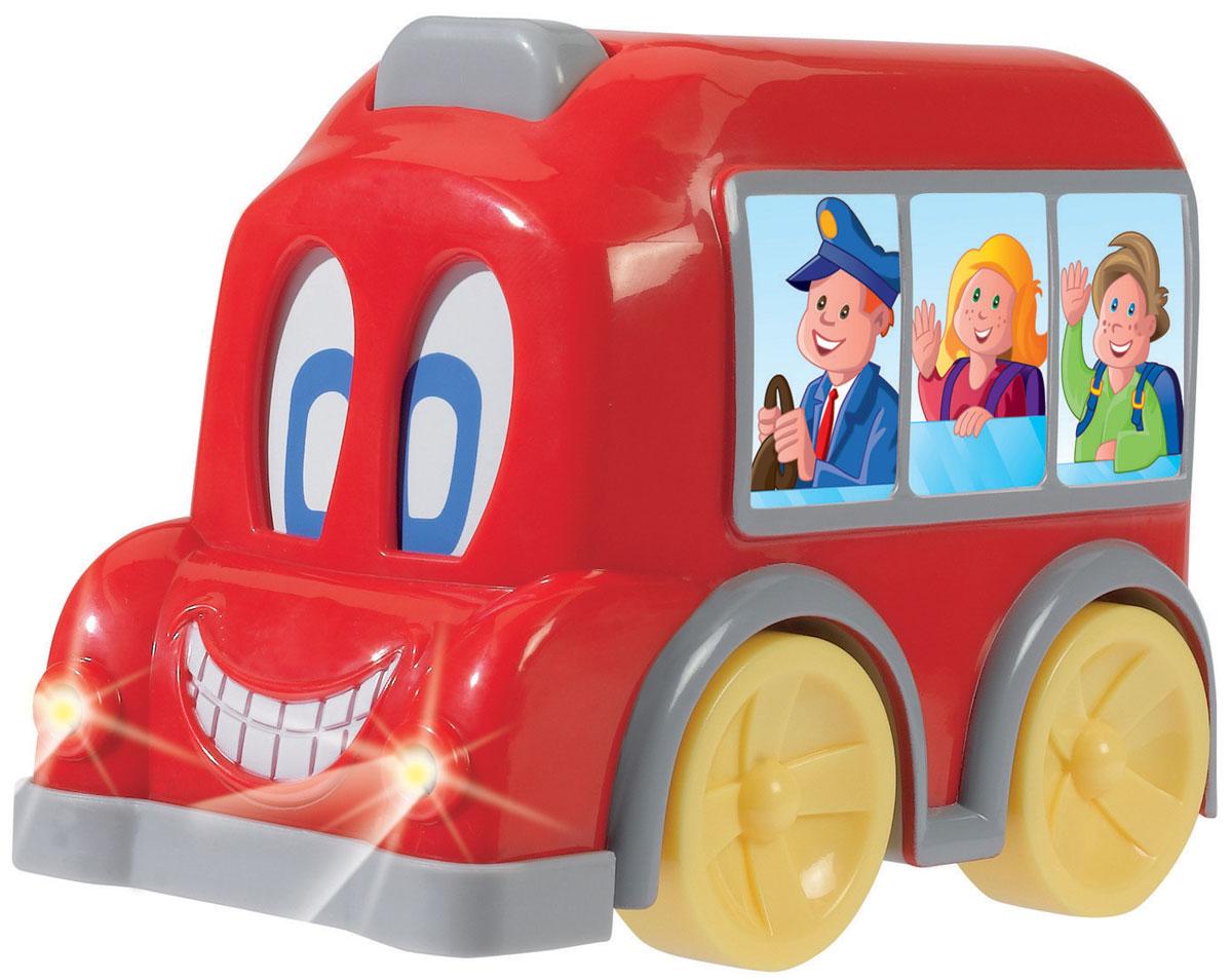 Simba Автобус с движущимися глазами цвет красный4011646_красныйАвтобус Simba привлечет внимание вашего ребенка и надолго останется его любимой игрушкой. Плавные формы без острых углов, яркие цвета - все это выгодно выделяет эту игрушку из ряда подобных. Представлена игрушка в виде яркого автобуса. Когда этот веселый автобус едет, его глаза начинают двигаться. А нажав на кнопку на крыше автобуса ваш малыш услышит забавный звук и увидит, как зажгутся фары автобуса. Такая игрушка развивает концентрацию внимания, координацию движений, мелкую моторику рук, цветовое восприятие и воображение. Малыш будет часами играть с этим автобусом, придумывая разные истории.