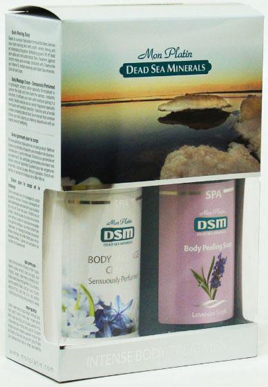 Mon Platin DSM Подарочный набор для женщин для тела (Мыло-пилинг для тела (лаванда) 350 мл, Крем для массажа тела с чувственным ароматом 350 мл)