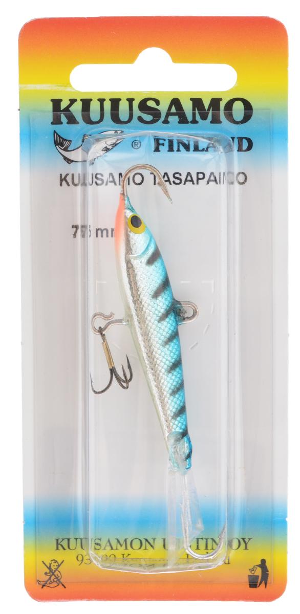 Балансир Kuusamo Tasapaino, с тройником, цвет: бирзовый, серебряный, 7,5 см54069Kuusamo Tasapaino - это классический балансир, проверенный временем. Традиционно высокое качество изготовления гарантирует улов. Балансир Kuusamo Tasapaino отлично подойдет для ловли окуня, судака, берша и щуки. Изделие комплектуется одинарными крючками и подвесным тройником.