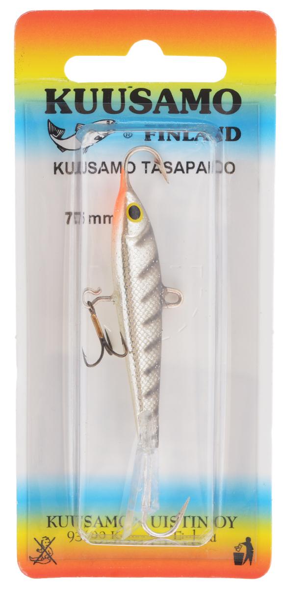 Балансир Kuusamo Tasapaino, с тройником, цвет: черный, серебряный, оранжевый, 7,5 см54075Kuusamo Tasapaino - это классический балансир, проверенный временем. Традиционно высокое качество изготовления гарантирует улов. Балансир Kuusamo Tasapaino отлично подойдет для ловли окуня, судака, берша и щуки. Изделие комплектуется одинарными крючками и подвесным тройником.
