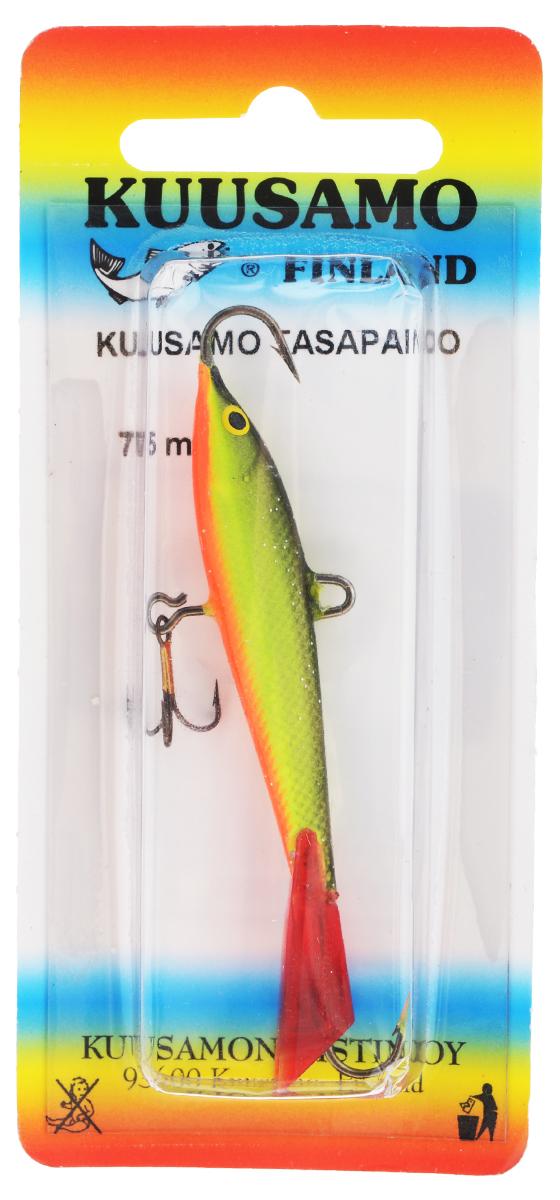 Балансир Kuusamo Tasapaino, с тройником, цвет: черный, зеленый, оранжевый, 7,5 см54068Kuusamo Tasapaino - это классический балансир, проверенный временем. Традиционно высокое качество изготовления гарантирует улов. Балансир Kuusamo Tasapaino отлично подойдет для ловли окуня, судака, берша и щуки. Изделие комплектуется одинарными крючками и подвесным тройником.