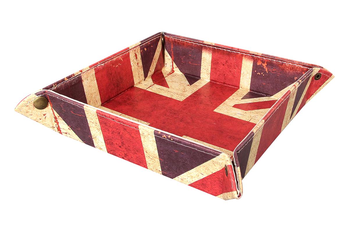 Корзинка для мелочей El Casa Британский флаг, складная, 22 см х 22 см х 5,5 см171185Складная интерьерная корзинка El Casa Британский флаг, выполненная из МДФ и экокожи, понравится всем ценителям оригинальных вещей. В сложенном виде изделие занимает минимум места, его легко хранить и перевозить. В такой корзинке можно хранить всевозможные предметы: диски, игрушки, рукоделие. Корзинка El Casa Британский флаг станет великолепным подарком вашим друзьям и близким. Размер корзинки (в собранном виде): 22 см х 22 см х 5,5 см. Размер корзинки (в разобранном виде): 31 см х 31 см х 0,5 см.