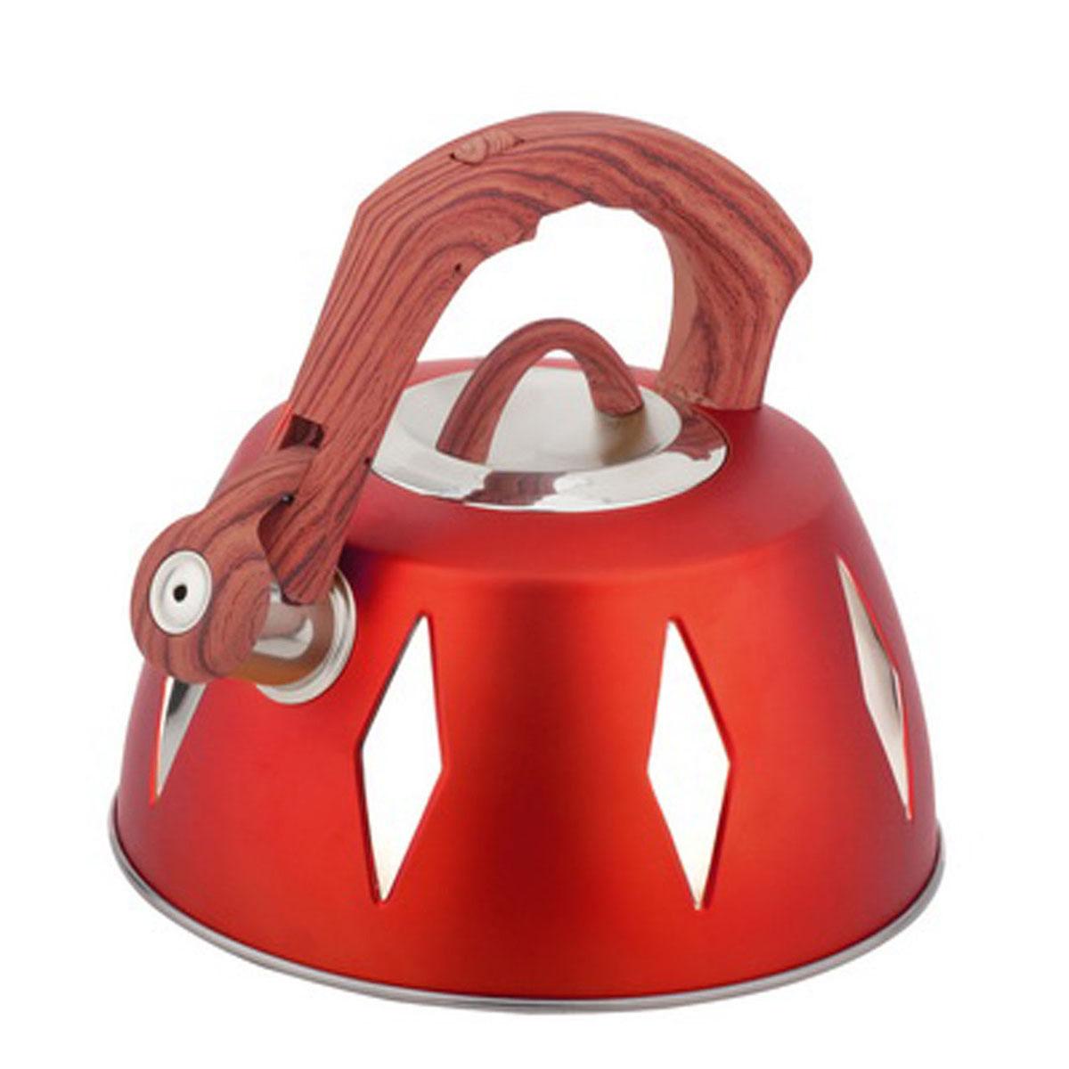 Чайник Bohmann со свистком, 3,5 л, цвет: красный9968BHNEW_красныйЧайник Bohmann изготовлен из высококачественной нержавеющей стали с цветным матовым покрытием. Нержавеющая сталь - материал, из которого в течение нескольких десятилетий во всем мире производятся столовые приборы, кухонные инструменты и различные аксессуары. Этот материал обладает высокой стойкостью к коррозии и кислотам. Прочность, долговечность и надежность этого материала, а также первоклассная обработка обеспечивают практически неограниченный запас прочности и неизменно привлекательный внешний вид. Капсульное дно позволяет изделию быстро нагреваться и дольше сохранять тепло. Чайник оснащен фиксированной прорезиненной цветной ручкой, что предотвращает появление ожогов и обеспечивает безопасность использования. Носик чайника имеет откидной свисток, который подскажет, когда вода закипела. Можно использовать на газовых, электрических, галогенных, стеклокерамических, индукционных плитах. Можно мыть в посудомоечной машине. Высота чайника (без учета ручки и крышки): 11,2...